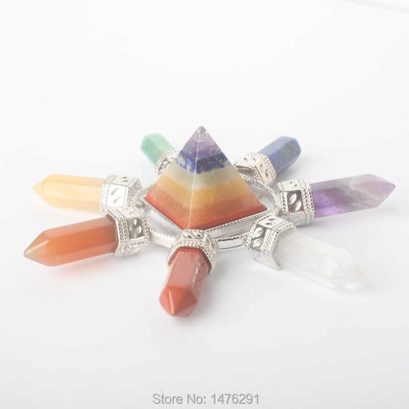 หินธรรมชาติคริสตัลควอตซ์ 7 Chakra Hexagon Prism Magic Wand Energy จี้ Reiki ลูกตุ้ม Charms Healing Amulet 1 ชิ้น