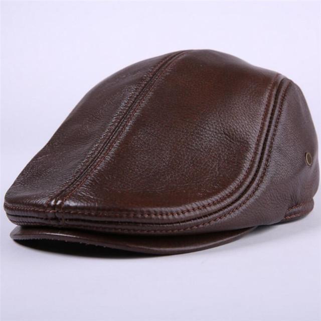 Novo Design Mens 100% Couro Genuíno Do Vintage Boné de beisebol marca jornaleiro Boina//Cabbie Hat/Chapéu de Golfe chapéus mornos do inverno com ouvidos