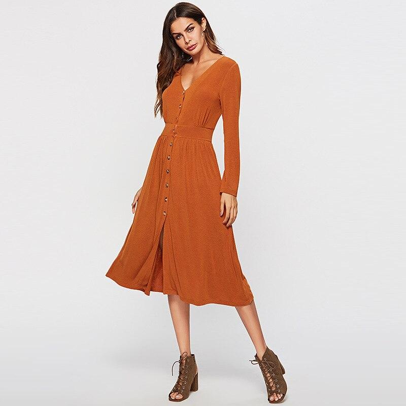 5aa83410ad1d L inverno Office Lady Di Scollo 2018 Del Delle Autunno V Orange Sexy  Arancione Vestiti Donne ...