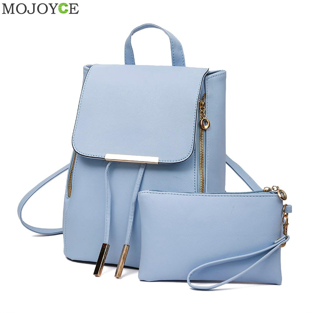 2Pcs Women Backpack High Quality PU Leather Mochila Escolar School Bags For Teenagers Girls Leisure Backpacks Candy Color women vintage backpack high quality pu leather mochila escolar school bag for teenagers girls top handle casual large backpacks