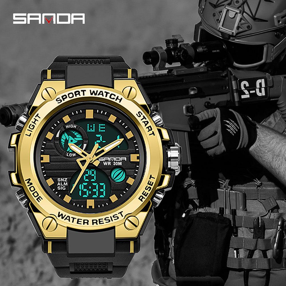 SANDA-montre-bracelet électronique pour hommes, de marque G, numérique, choc, de sport, mode, étanche, 2020 5