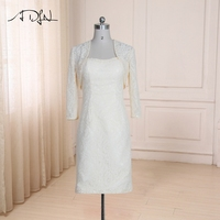 ADLN Cheap Lace Mother of The Bride Dress Long Sleeves Beaded Sequins Mother Dresses with Jacket Wedding Party Gowns