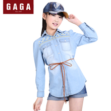 GuaGuaEgg Winter Autumn 2016 Big Girls Blouses Hooded Collar Denim Long Sleeve Embroidery Fashion Kids Shirts with Pocket