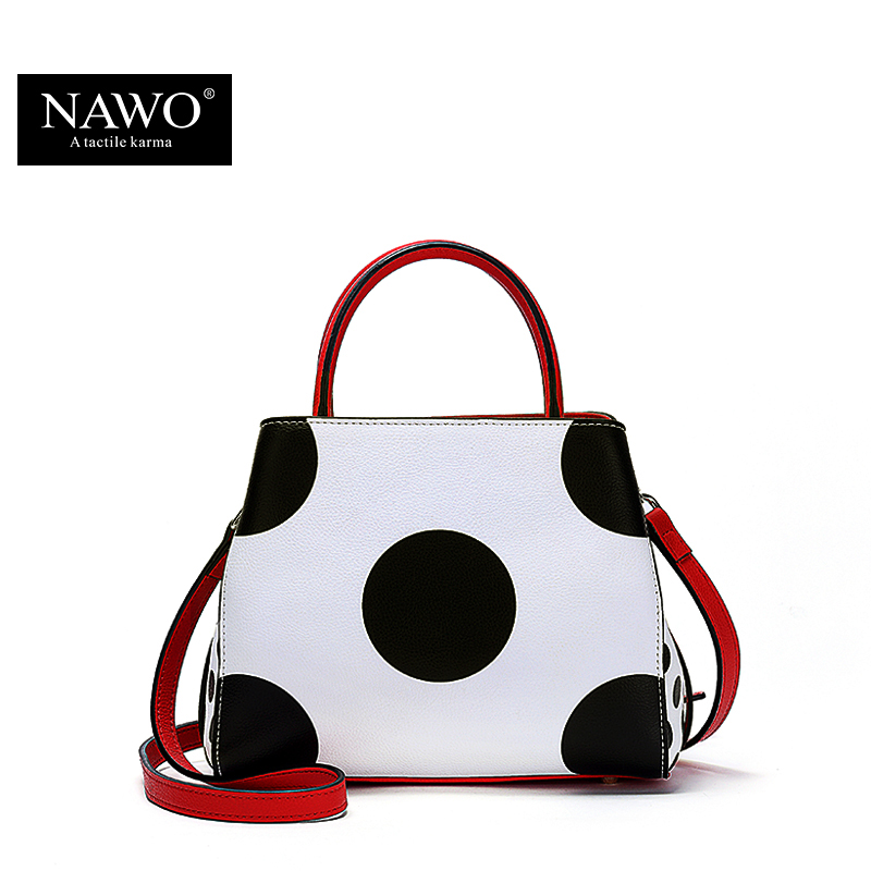 NAWO Famous Brands Women Leather Handbags Designer Women Bag Dot High Quality Shoulder Messenger Bags Luxury Hand Bags Female sgarr soft leather handbags women famous brands luxury bag designer quality casual lady messenger bag female large shoulder bags