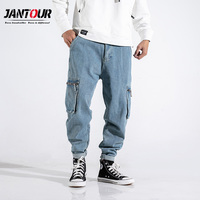 Jantour 2019 new Hip hop quality haren jeans men blue loose pants mens blue pocket overalls trousers male large size 28 42