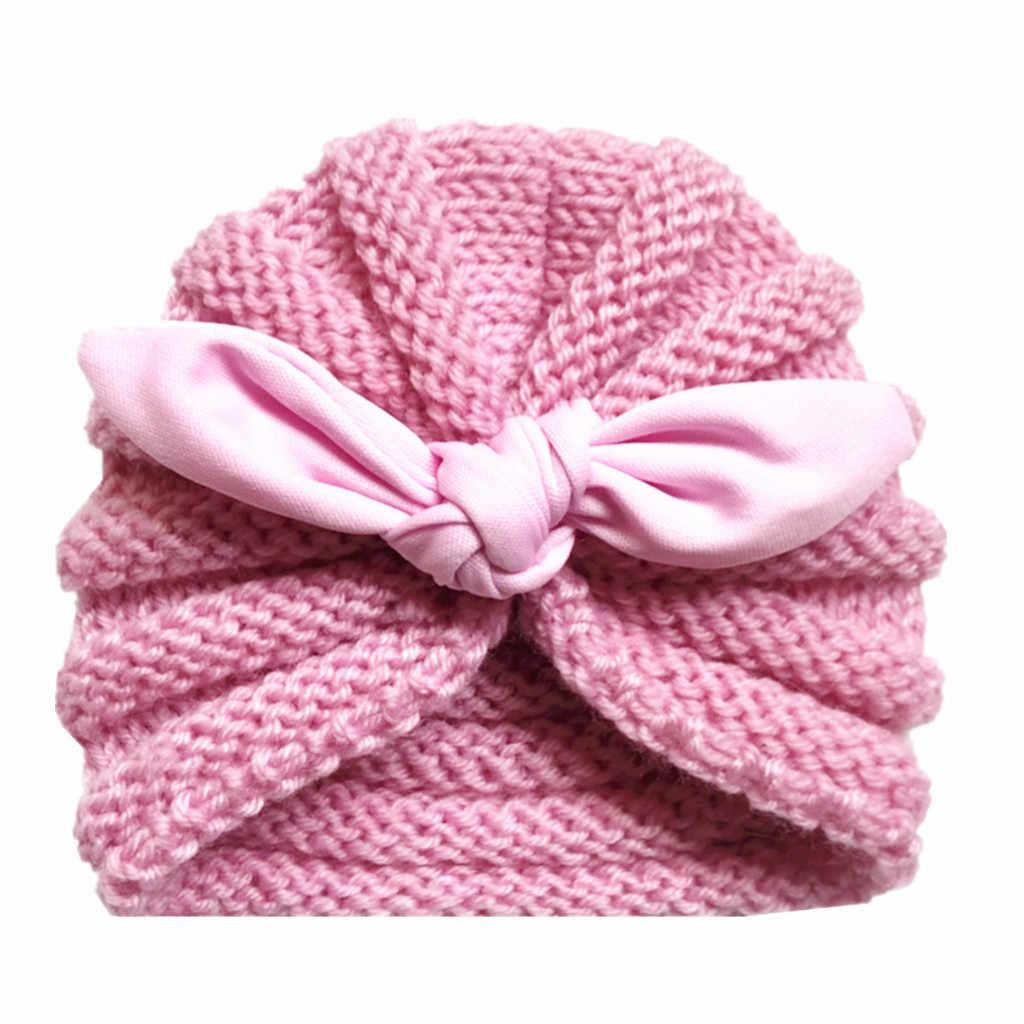 Милая хлопковая детская шапка мягкая для маленьких мальчиков девочек Вязаный Тюрбан Завязывают шляпа зимние теплые для новорожденных Кепки Gorra de bebe