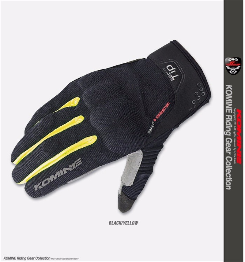 Komine GK-183 Black Yellow GK 183 3D Protect Mesh Touch Screen Gloves Motorbike MX Cycling Sports Motorcycle Summer GlovesKomine GK-183 Black Yellow GK 183 3D Protect Mesh Touch Screen Gloves Motorbike MX Cycling Sports Motorcycle Summer Gloves