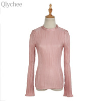 Qlychee Slit Flare Sleeve Pleated Tops Women Autumn Sexy Slim Long Sleeve Stand Collar T Shirts