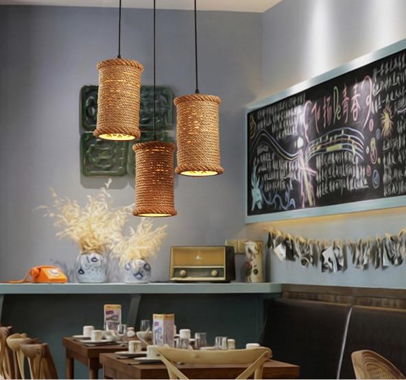 Retro Liny konopne wisiorek światła Loft Vintage Lampa ręcznie - Oświetlenie wewnętrzne - Zdjęcie 2