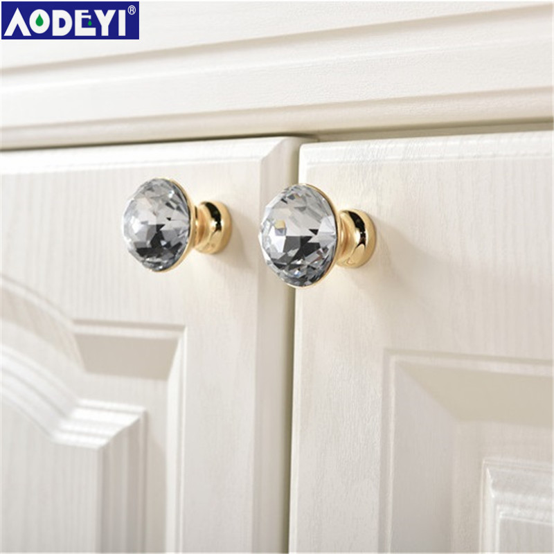 Luxury Gold Czech Crystal Round Cabinet Door Knobs and Handles Furnitures Cupboard Wardrobe Drawer Pull Handle entrance door handle solid wood pull handles pa 377 l300mm for entry front wooden doors