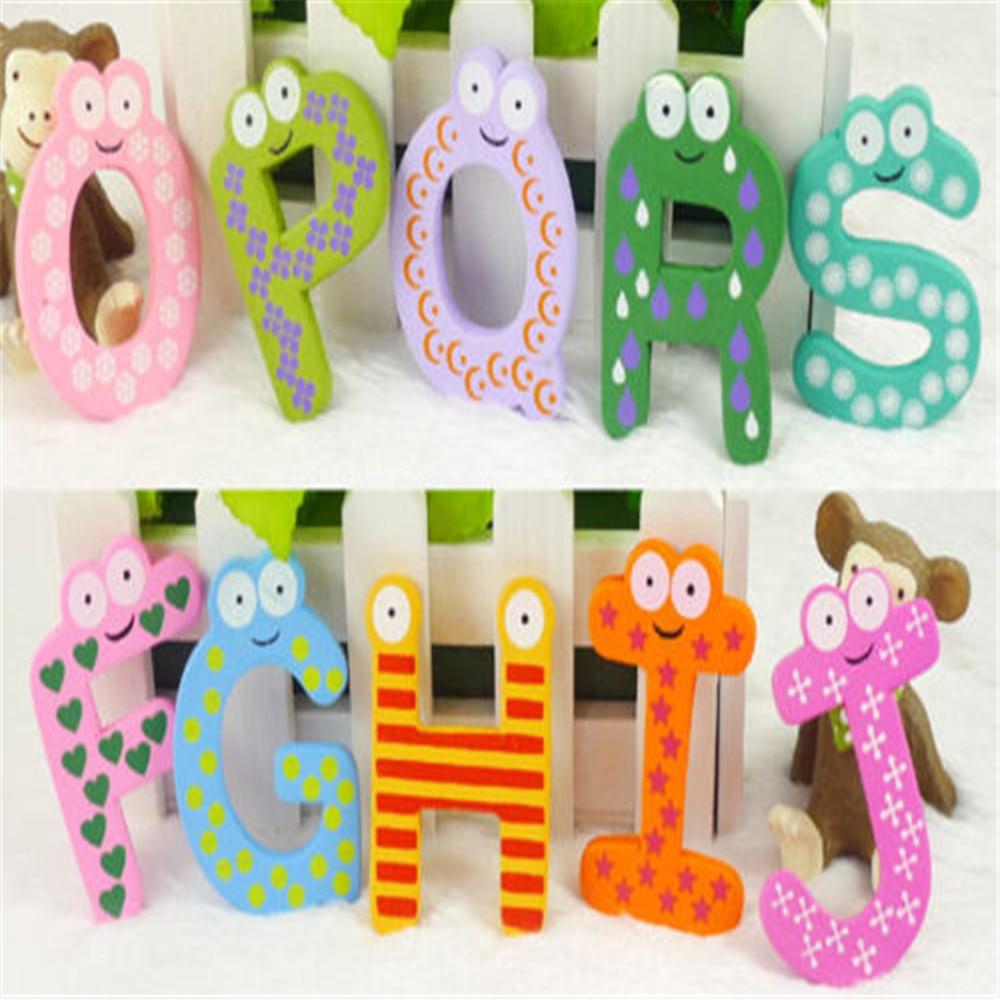 Kids Fridge Magnets Magnetic Letters Wooden Alphabet English Language Toys