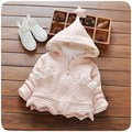 Fashion Warm Winter Baby Girls Infant Kids Star Hooded Plus Velvet Thicken Jacket Cardigan Coat Outwear Roupas Casaco S4308