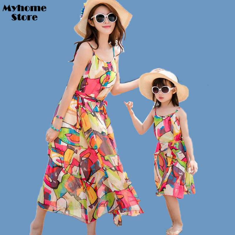 Free Shipping Summer 2017 New Fashion Chiffon Dresses Girls Matching Mother Daughter Clothes Maxi Dress Colored Blocks Printing