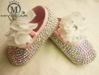 MIYOCAR Personalized Stunning colorful rhinestone crystal Baby Girl children shoes Bling Diamond first Walker lace flower