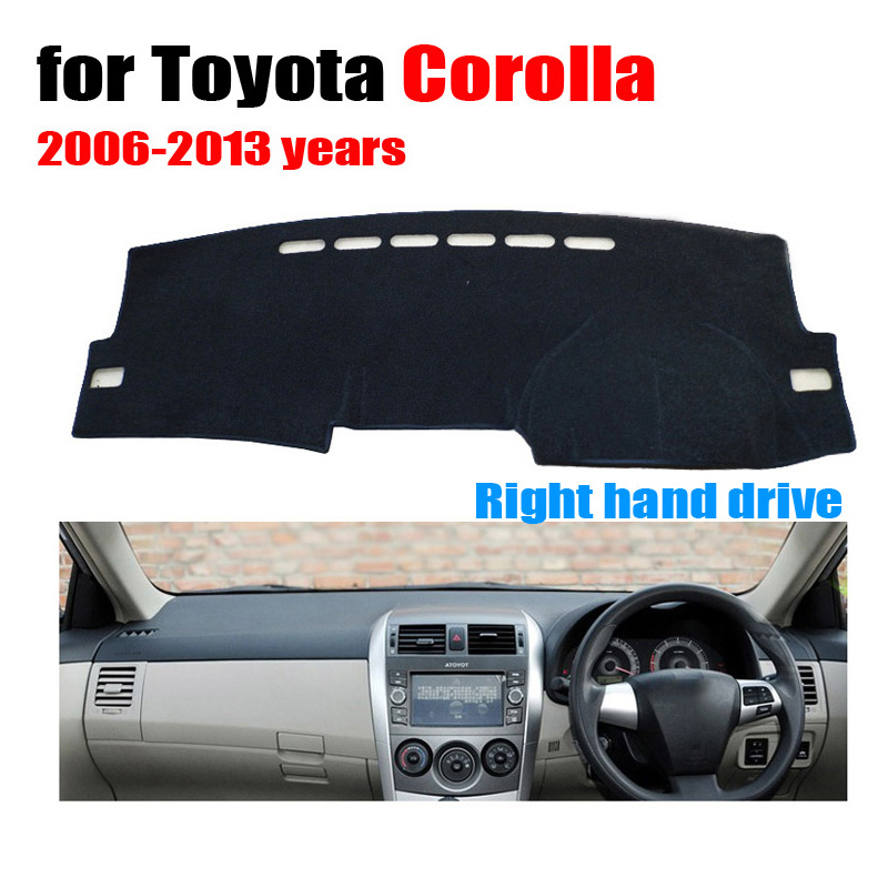 car dashboard cover mat for toyota corolla 2006 2013 years right hand drive dashmat pad dash mat. Black Bedroom Furniture Sets. Home Design Ideas