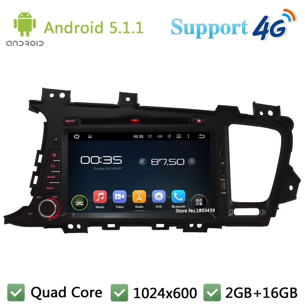 Quad Core 8″ HD 1024*600 2DIN Android 5.1.1 Car DVD Player Radio Screen FM DAB+ 3G/4G WIFI GPS Map For KIA K5 Optima 2011-2013