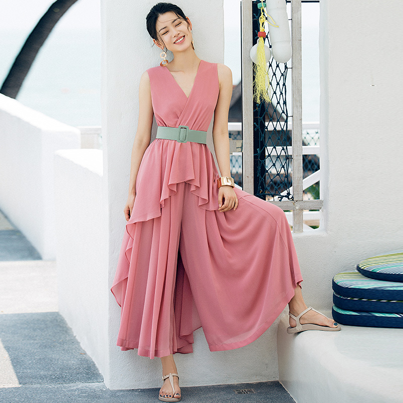 VERRAGEE женская рубашка + брюки комплект 2018 летняя шифоновая рукавов розовый синий асимметричный комплект из двух предметов с поясом