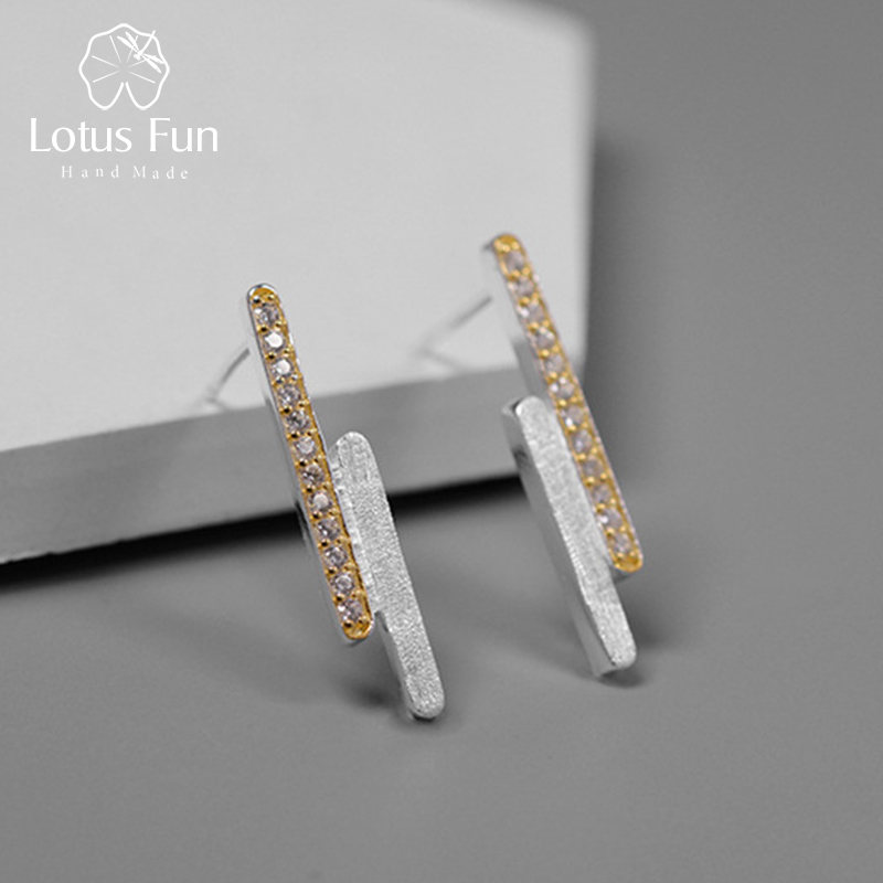 Lotus Fun Real 925 Sterling Silver Handmade Designer Fine Jewelry Creative Minimalist Parallel Lines Stud Earrings for Women