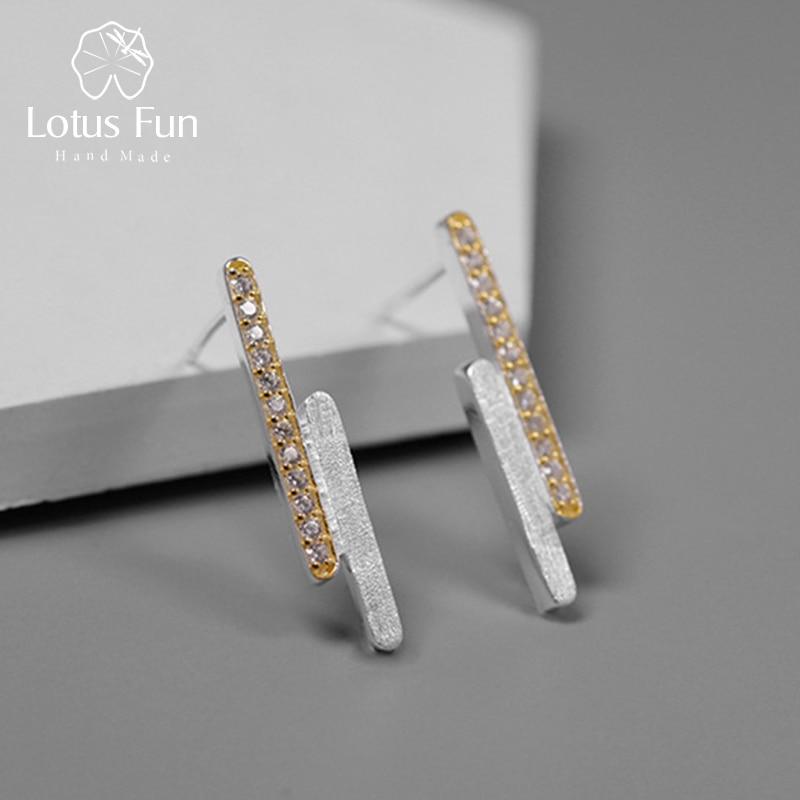 Lotus Fun Real 925 Sterling Silver Handmade Designer Fine Jewelry Creative Minimalist Parallel Lines Stud Earrings for Women