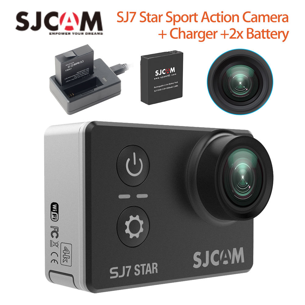 "SJCAM SJ7 Star 4K 12MP HD Wifi Sport Action Waterproof Helmet Camera Video 2.0"" Touch Screen +Charger +2x Battery"