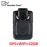 32GB Professional Police Camera Body Camera Body Worn Car DVR GPS WIFI Ambarella A12 IR Night Vision Full HD 1080P