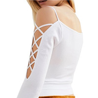 Women Tops Female Casual Shirt 2018 Spring Fashion Strapless Inner Pads Basic Tops X Straps Sexy