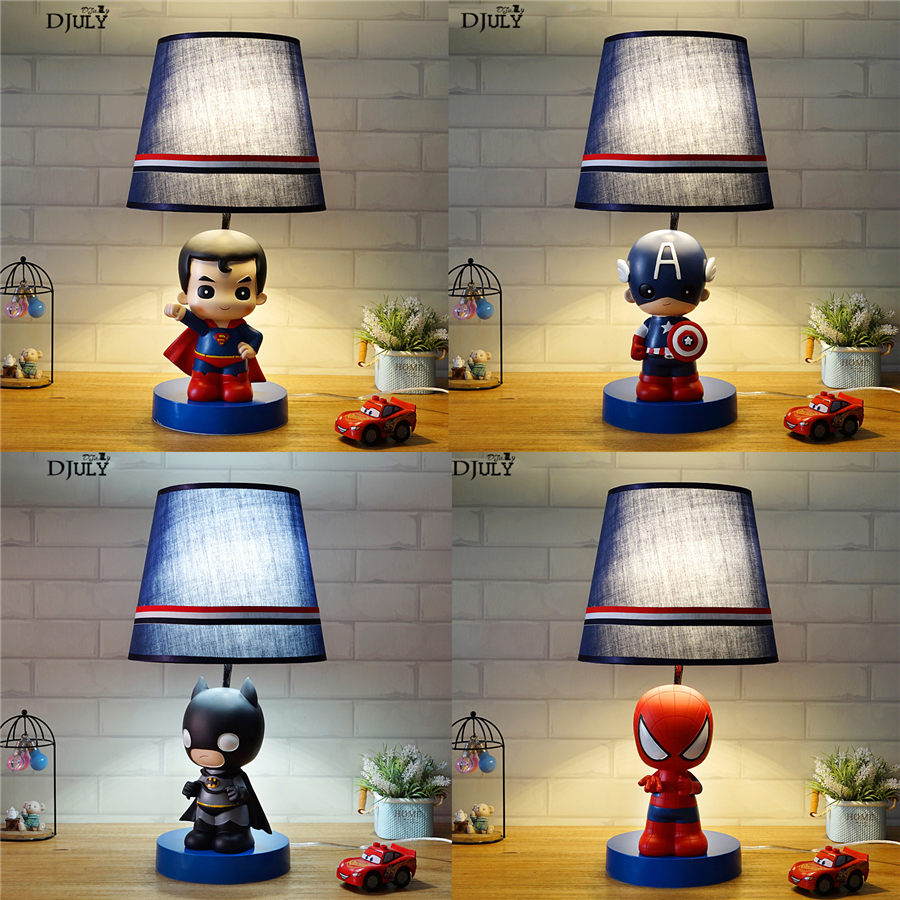 cartoon Spiderman Batman kids led fabric table lamp for bedroom study nursery creative Childrens room desk lamp bedside lightcartoon Spiderman Batman kids led fabric table lamp for bedroom study nursery creative Childrens room desk lamp bedside light