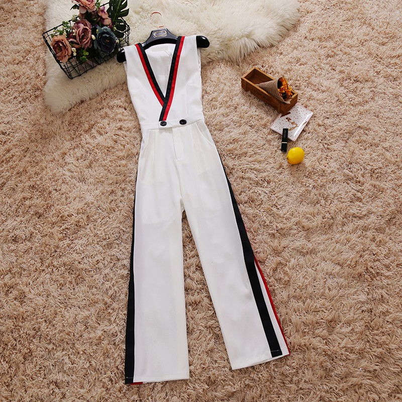 2018 summer new female Deep V-Neck Sleeveless Side Stripe Waist Chiffon Jumpsuit Wide Leg Pants women's Siamese clothes