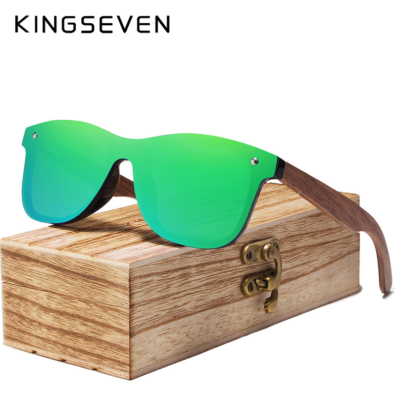 KINGSEVEN Mens Sunglasses Polarized Walnut Wood Mirror Lens Sun Glasses Women Brand Design Colorful Shades Handmade