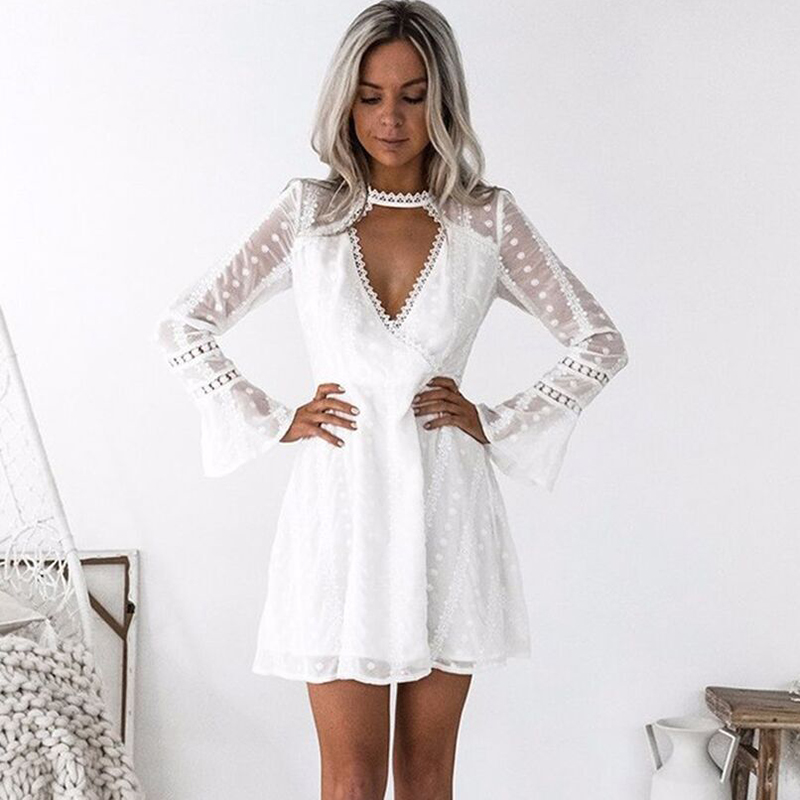 White Sexy Summer Autumn Dress Evening Party Wrap Short Dress Women Deep V  Neck Long Sleeve 70fbd3bf8eda