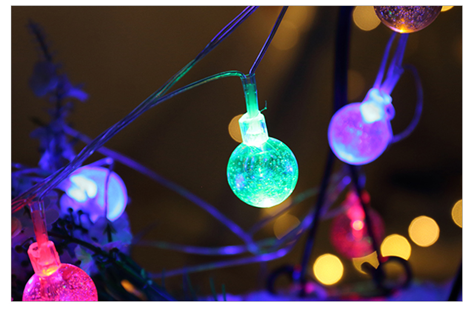 Solar LED String Lights Garland Outdoor 3050 LED Ball Hollow Christmas Trees Garden Party Decor String Fairy Light Ball Chain (15)