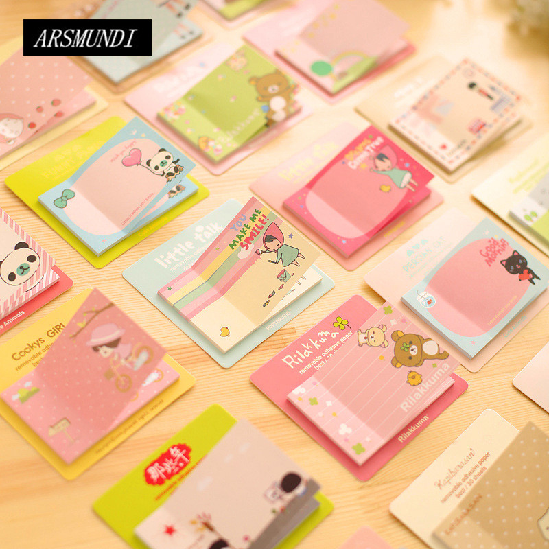 Cute Sticky Notes Red Hat Girl Memo Pad Kawaii Post It School Office Papeleria Planner Stickers School Supplies Stationery