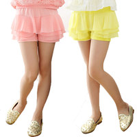 Summer 2016 Girls Shorts Culottes Chiffon Shorts For Girls Candy Color Girls Lace Shorts With Skirt