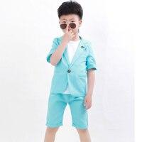 Boys Blazer Gentlemen Suit Jacket + Pants + Vest 3pcs Sets Flower Children Clothes Boys Casual Blazers For Weddings Party H155