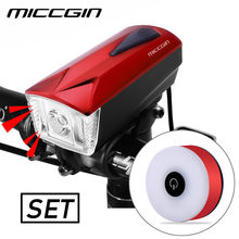 MICCGIN LED Bike Light Front Remote Horn Bicycle Rear Light Set Lantern For Bicycle Cycling Bell Flashlight USB Rechargeable(China)
