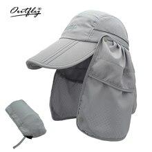 Di marca a tesa larga del sole di Estate Traspirante Protezione UV Visiere del cappello della benna Protezione Solare berretto di pesca pescatore Staccabile Pieghevole cap