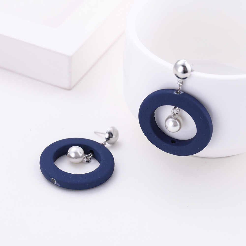 My Shape Vintage Hollow Round Circle Pearl Dangle Earrings Gray Blue Brown Green Earrings Jewelry Women's Ear Accessories Gifts