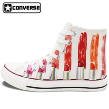 Men Women Converse Hand Painted Shoes Design Colorful Lipstick Cosmetic High Top Canvas Sneakers for Gifts Girls