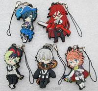 5 pcs/set Black Butler figure pendants Anime Sebastian Ciel Rachel Mey figures keychains phone straps free shipping