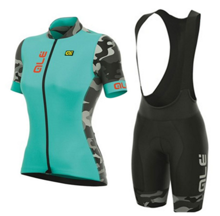 ALE Women Cycling Jersey Set Bike Team Cycling Clothes Short Sleeve Full Zipper GEL Breathable Pad Quick Dry bike Clothing
