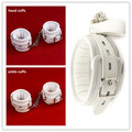 White PU Leather Soft Padded Bondage Kit Hands Cuffs & Ankle Cuffs & Neck Collar With Leash Bondage Retraint Sex Toys For Couple