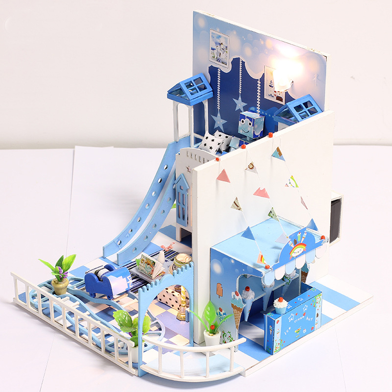 Miniature Blue Dream Childrens Room Dollhouse With Dolls Car LED Lights Furniture Kits DIY Wooden Dolls House Handmade Kid Gift