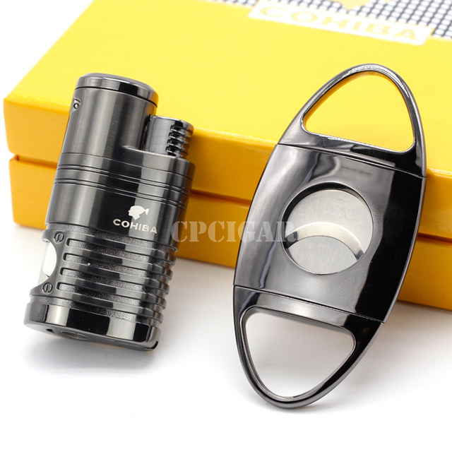 COHIBA Gadgets Windproof 4 Flame Cigar Lighter with Built-in Cigar Punch Stainless Steel 2 Blades Cigars Cutter COHIBA Gift Set