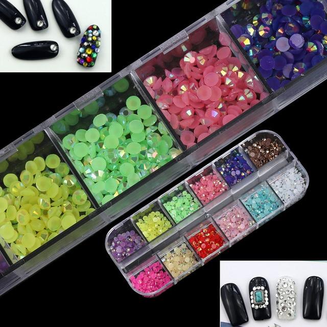 1 Box 2mm 3D Nail Art Rhinestones Mix Teardrop Heart Sticker Gems ...