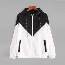 FeiTong Women Basic Jackets Female Zipper Pockets Casual Long Sleeves Coats Autumn Hooded Jacket Two Tone Windbreaker Jacket
