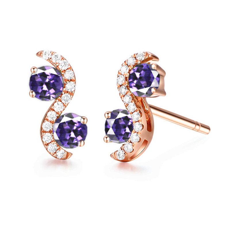 Solid 14k Rose Gold Natural Amethyst Women Stud Earrings Accents AAA Graded Cubic Zirconia CZ Trendy Fine Jewelry купить недорого в Москве