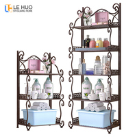 Foldable Iron 5 tier Bookcase Kitchen bathroom universal shelf Sundries organizer Storage bookshelf living room home Furniture