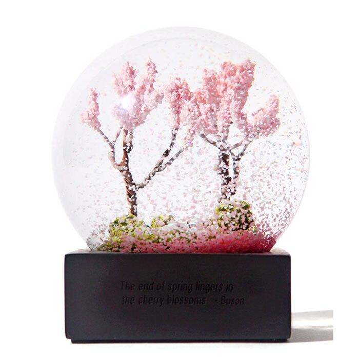 pigcuatro estaciones de cristal bola de cristal bola de nieve primavera rosa flores de