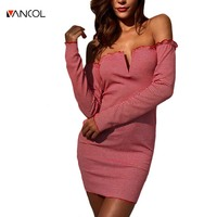 Vancol 2017 Sexy Slash Hals Gestreepte Jurk Vrouwelijke Slanke Mode Herfst jurk Ruches Diepe V Effen Strakke Mini Jurk Vrouwen Plus Size