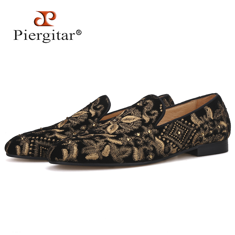 Piergitar 2019 Handmade Men Loafers With Full Gold Embroidery Slip on Fashion party and wedding men